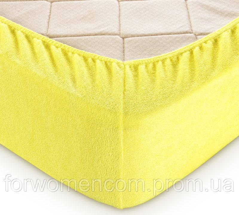 Махровая простынь на резинке с наволочками (Желтый)