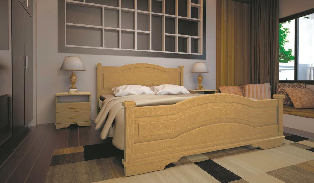 Кровать односпальная с натурального дерева в спальню/детскую ТИС АТЛАНТ 15 90*190 сосна