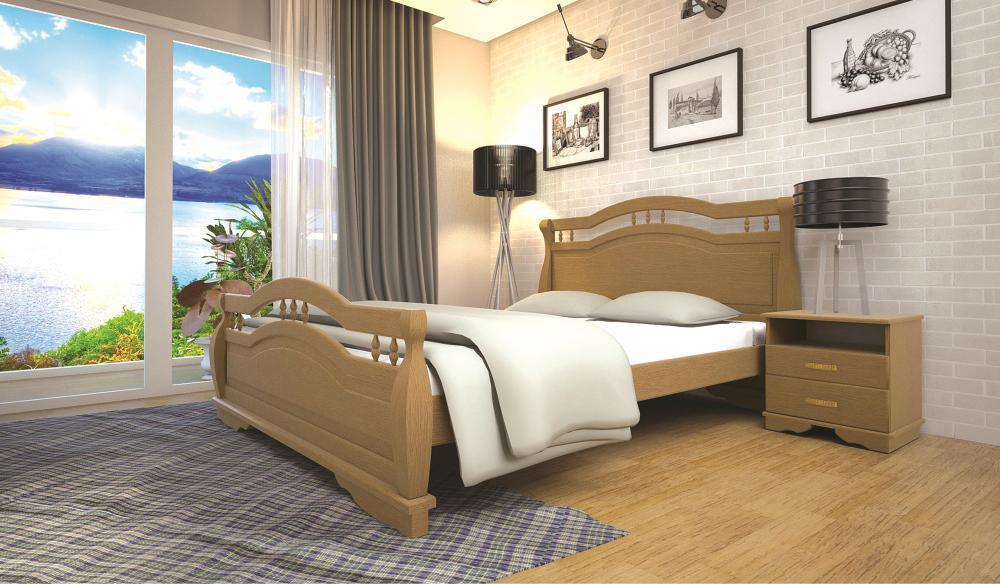Кровать односпальная с натурального дерева в спальню/детскую ТИС АТЛАНТ 22 90*190 сосна