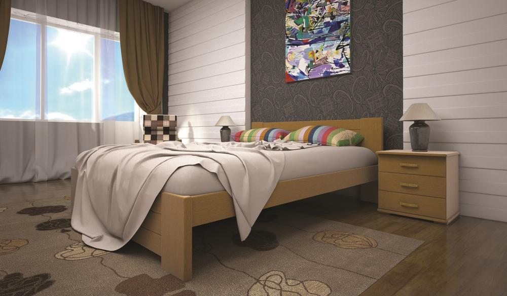 Кровать односпальная с натурального дерева в спальню/детскую ТИС ІЗАБЕЛЛА 3 90*190 сосна