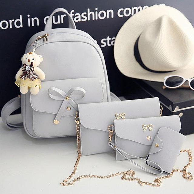 Набор Рюкзак, сумочка, кошелек, визитница и брелок (Мишка) серый