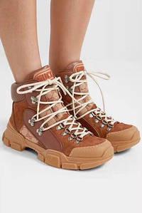 Женские высокие кожаные осенние ботинки GUCCI