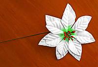 "Новогодний цветок ""Пуансетия"" (002 белая) 14 см"