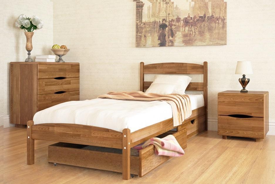 """Кровать односпальная с натурального дерева в спальню/детскую односпальная Олимп """"Лика без изножья с ящиками"""" (80*190)"""