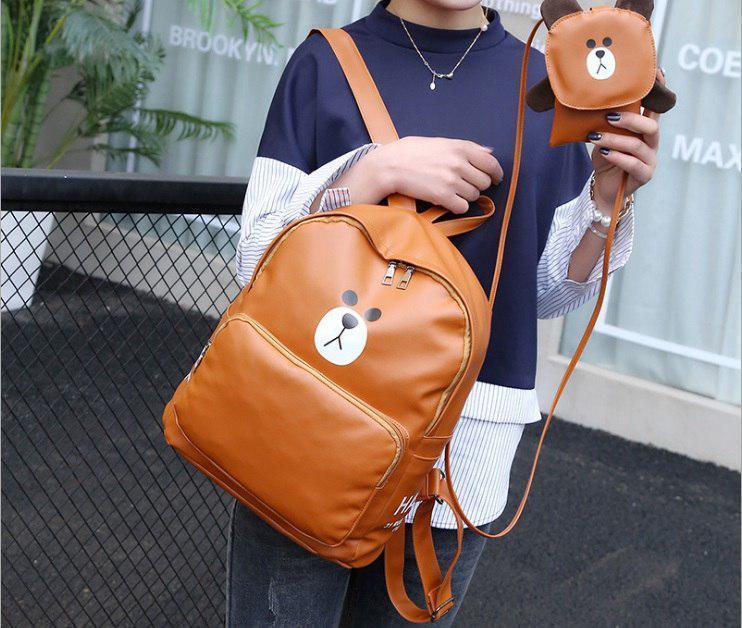Рюкзак и сумочка с Медведем коричневый