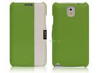 Чехол кожаный i-Carer Side Open colorblock series до Samsung Galaxy Note 3 Green+White