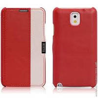 Чехол-книжка кожаный i-Carer Side Open colorblock series до Samsung Galaxy Note 3 Red+White