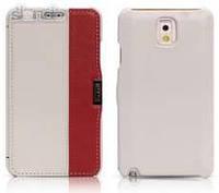 Чехол кожаный i-Carer Side Open colorblock series до Samsung Galaxy Note 3 White+Red