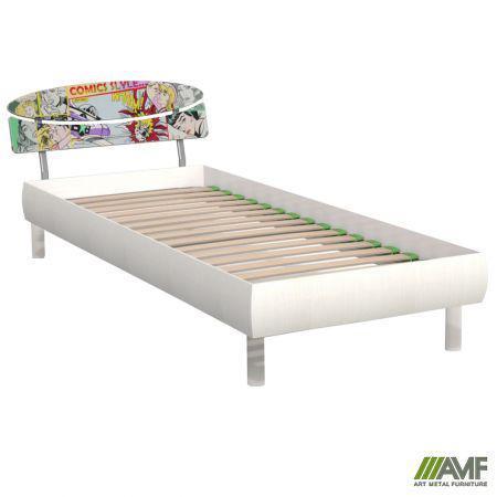 Ліжко (Кровать) Кенді 80х200 біле дерево/принт Комікс, ніжки букові циліндр білі AMF