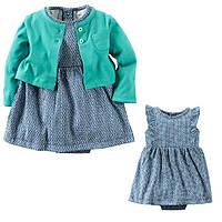 Комплект плаття-боді з кардіганом для дівчинки Carters візерунки