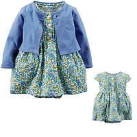 Комплект плаття-боді з кардіганом для дівчинки Carters квіти фіолет
