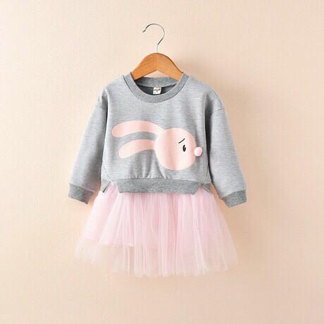 Платье детское на девочку весна-осень серое