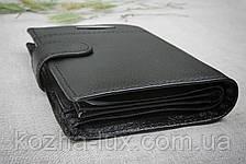 Портмоне чёрное вертикальное, натуральная кожа, фото 3