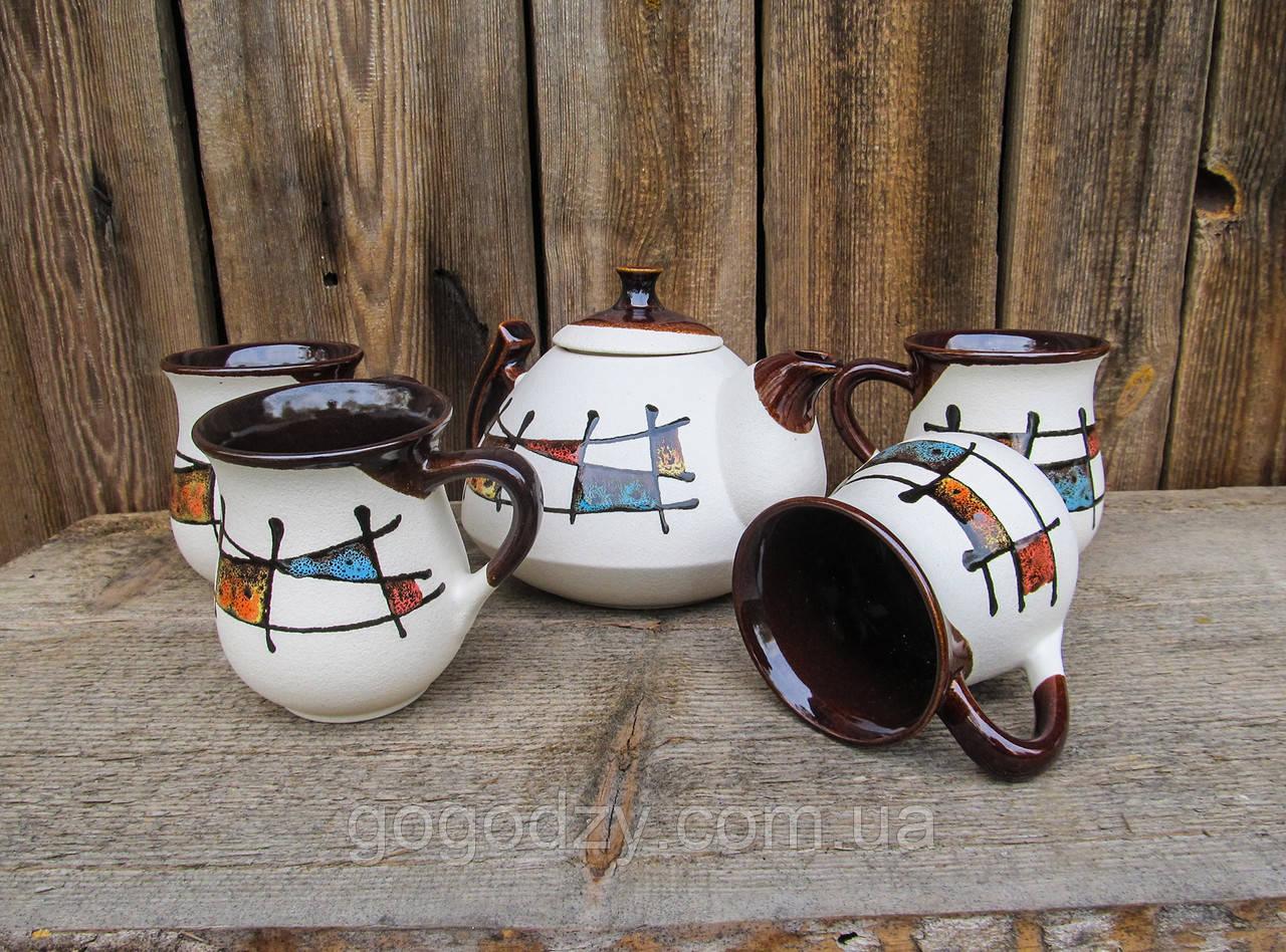 """Чайний набір Ґорґани, декор """"Ґаларетка"""" кольоровий на 4 особи"""