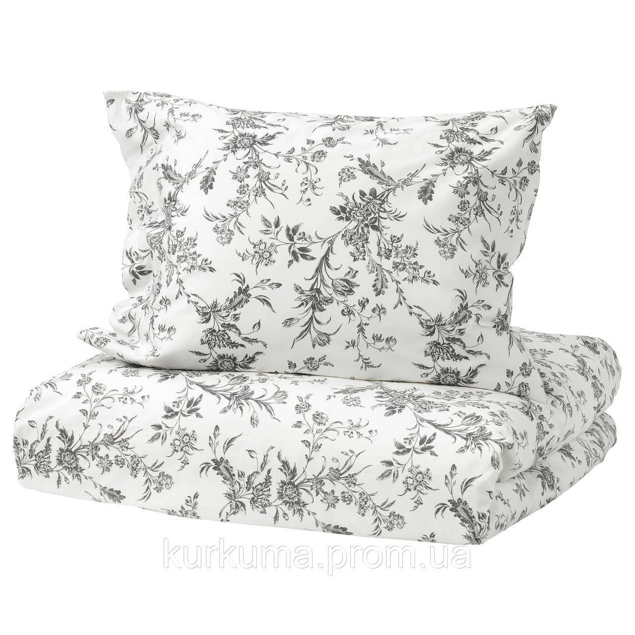 IKEA ALVINEKVIST Комплект постельного белья, белый, серый  (101.596.31)