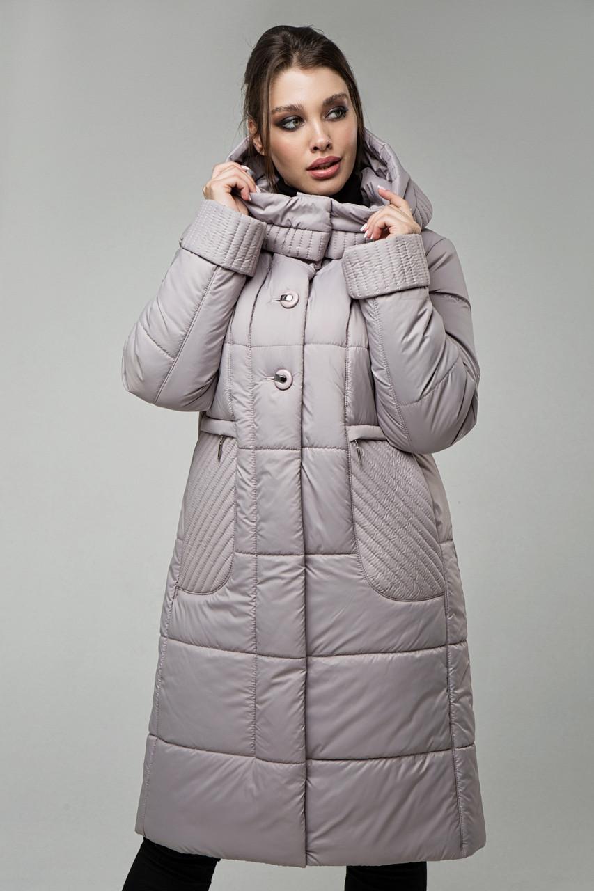 Стеганое утепленное пальто с капюшоном, прямого силуэта, с карманами Большие размеры 48-58