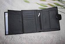 Портмоне мужское кожаное вместительное чёрное, натуральная кожа, фото 2