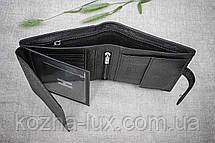 Портмоне вместительное чёрное, натуральная кожа, фото 2