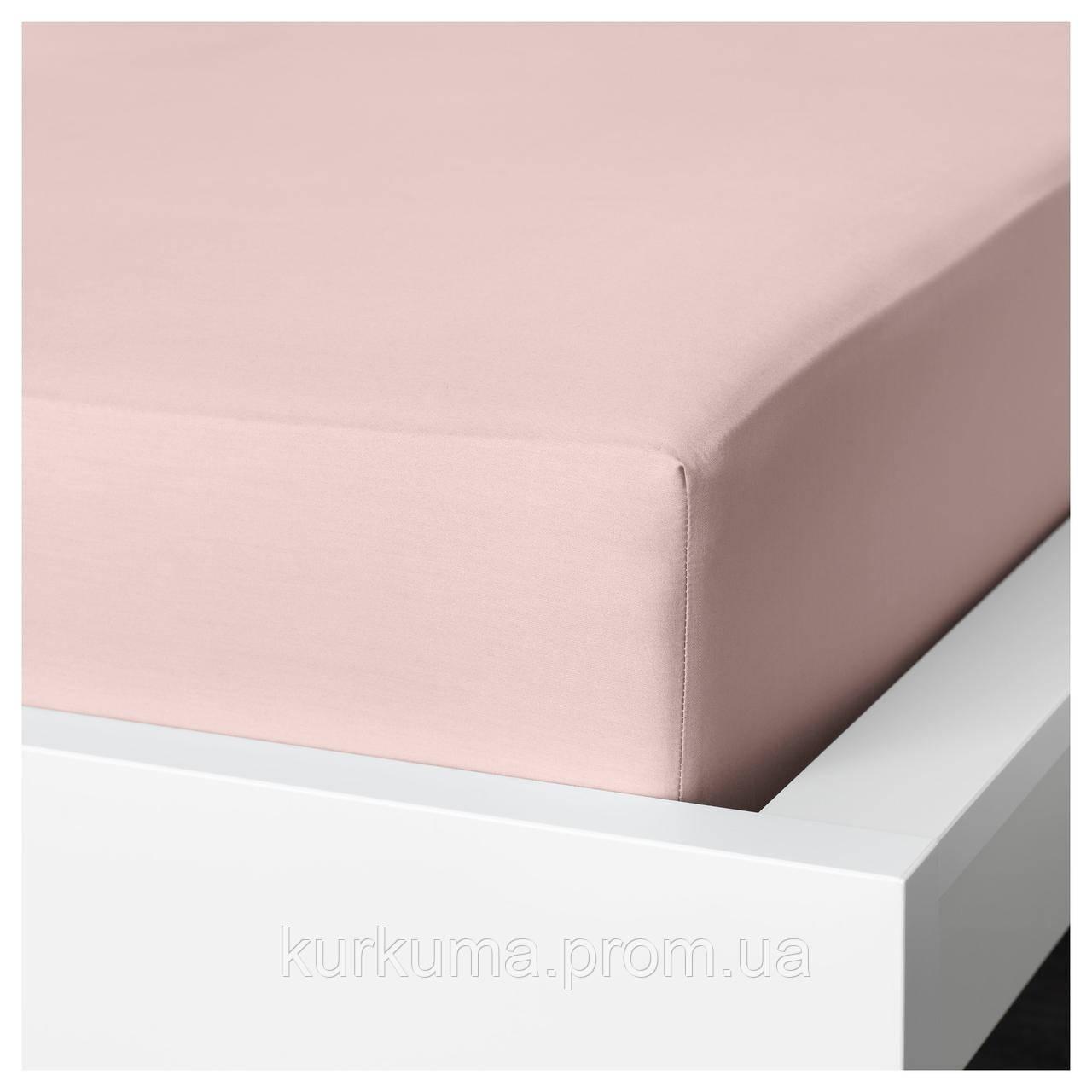 IKEA DVALA Простыня с резинкой, светло-розовый  (403.576.58)