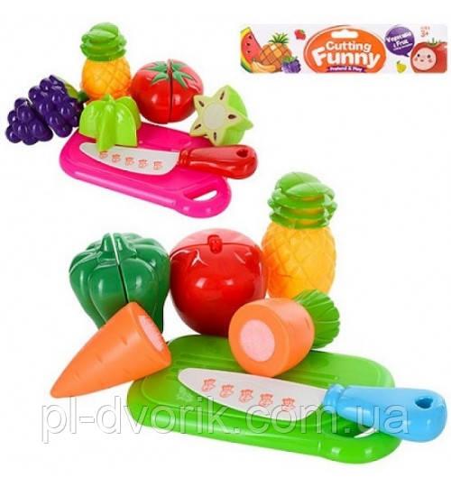 Овощи и фрукты 6105/6106 (1615803) ( 2 вида, дел.пополам, досточка, нож, пакет17,5*5*21,5см