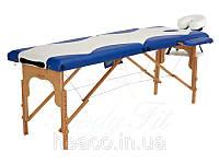 Деревянный 2-х сегментный стол для массажа (2 цвета - белый,синий) FIT (Польша)
