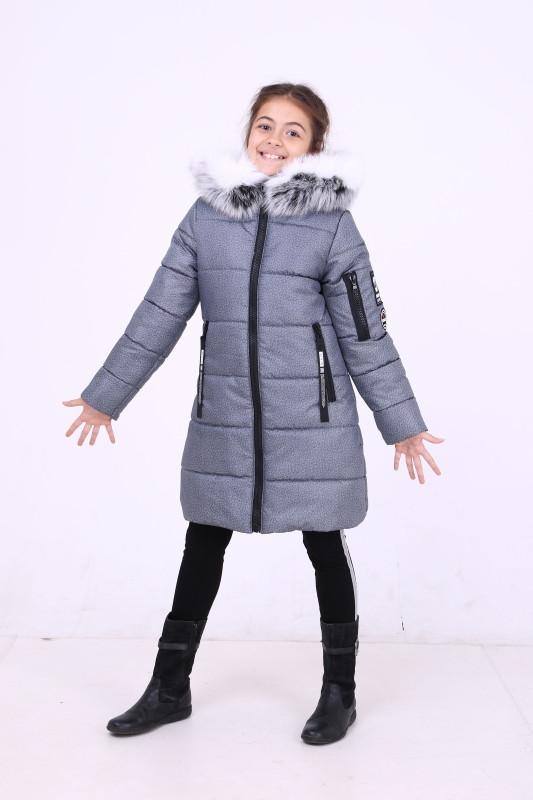 Куртка зимняя на силиконе для девочки, рост 128 - 146 см, в 6 цветах. Серый меланж