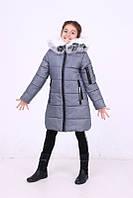 Куртка зимняя на силиконе для девочки, рост 128 - 146 см, в 6 цветах. Серый меланж, фото 1