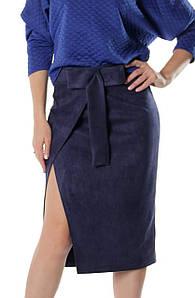 Замшевая женская юбка Кастор синяя