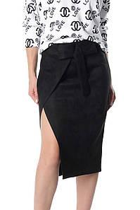 Замшевая женская юбка Кастор черная