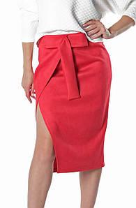Замшевая женская юбка Кастор красная