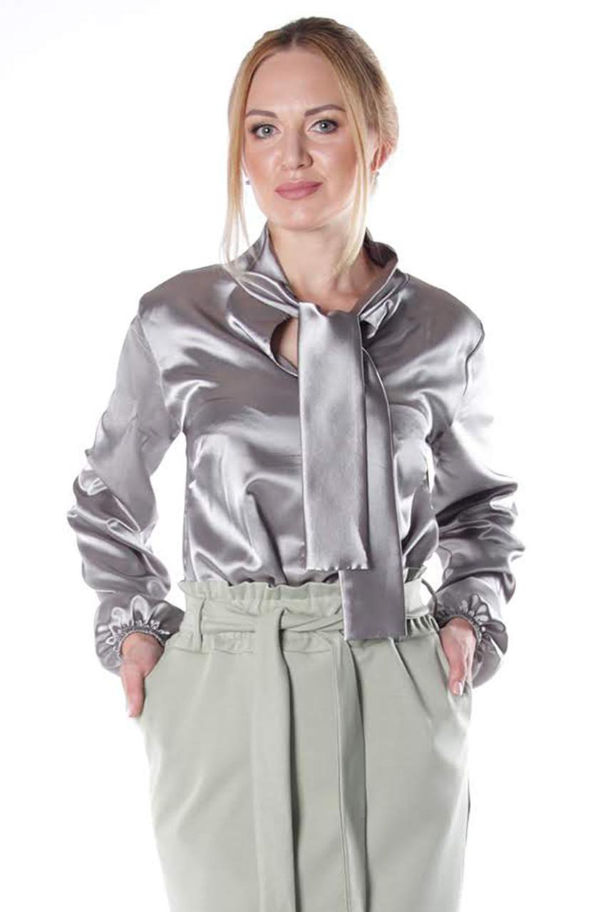 265db383b3e Женская блузка из атласа Каллисто серая - DS Moda - женская одежда оптом от  производителя в