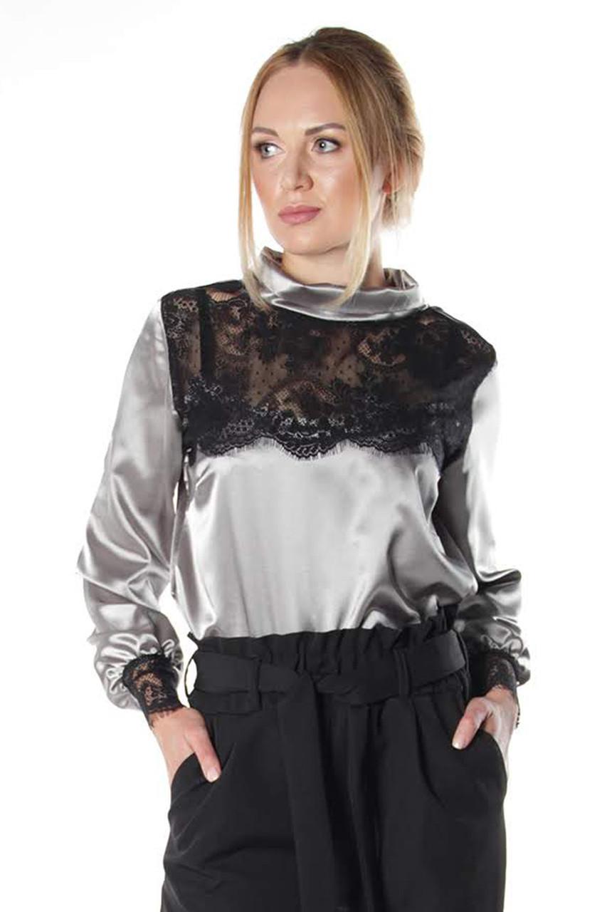 63474e2e36b Женская блузка из атласа Мимас серая - 450 грн. Купить в Украине ...