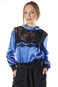 Женская блузка из атласа Мимас электрик