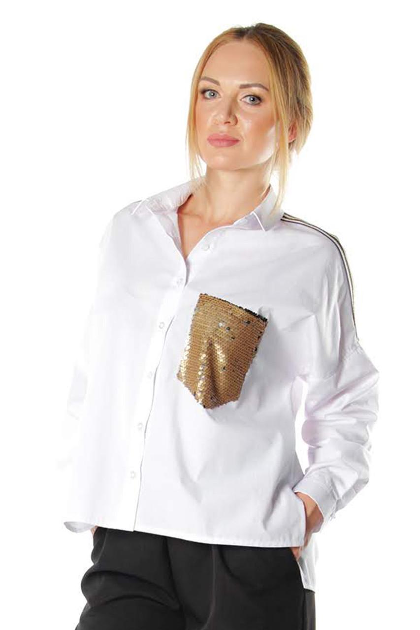 1f679bf0b3e Женская белая рубашка Анфилада - 540 грн. Купить в Украине ...