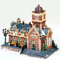 Новогодний декор домик, «Вокзал», фарфор, с диодной подсветкой, h-23,5x15x26 см.