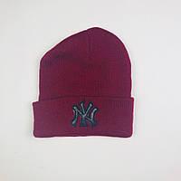 Шапка New York бордового цвета  (люкс копия)