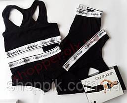 Набор Calvin Klein 4 в 1 топ лосины стринги шортики (реплика), фото 2