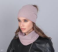 Комплект шапка+баф ткань-пряжа меж натур
