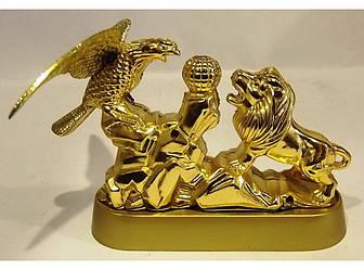 """Настольная зажигалка """"Лев и Орел в золоте"""" пламя турбо."""
