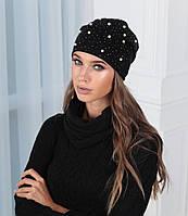 Комплект шапка+баф жемчуг ткань-пряжа