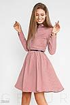 Розовое платье в синий горошек с отложным воротником, фото 2