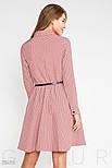 Розовое платье в синий горошек с отложным воротником, фото 3