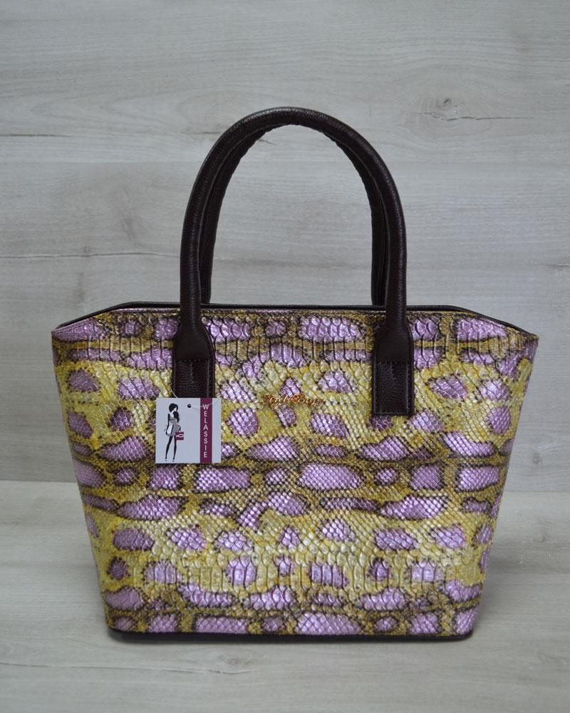 Классическая женская сумка Две змейки коричневая, желтая змея