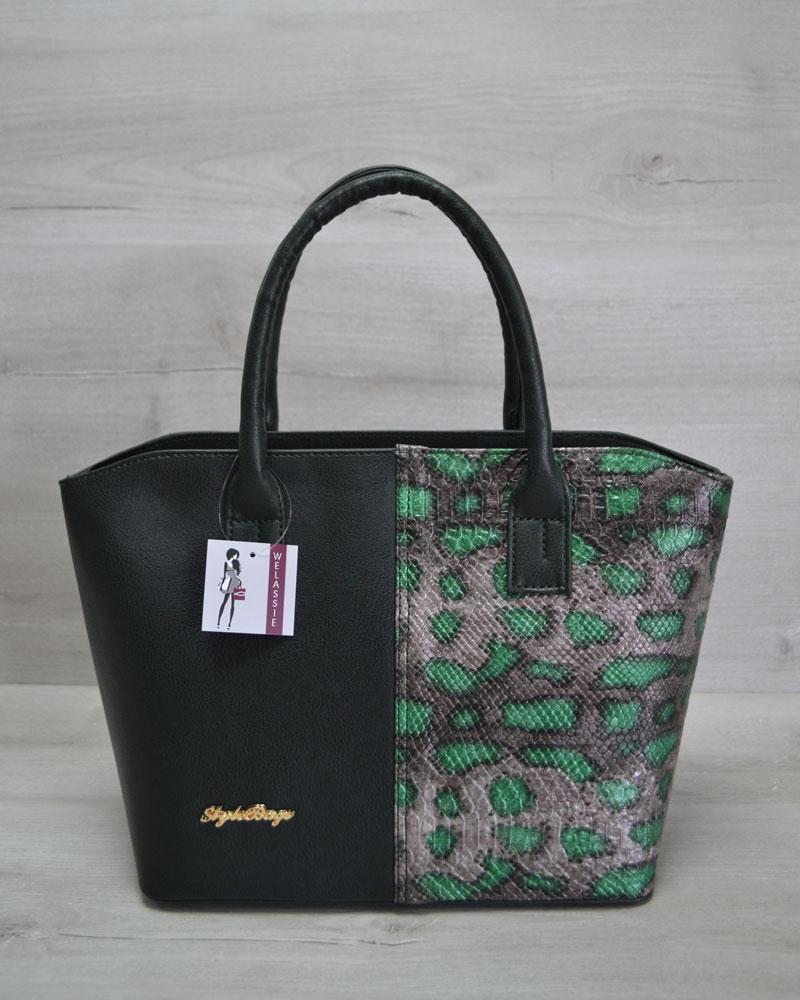 Классическая женская сумка Две змейки зеленая, зеленая змея