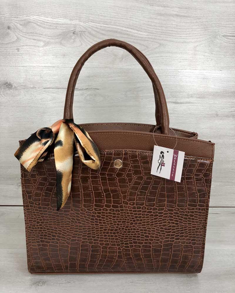 Классическая женская сумка Бьянка рыжего цвета со вставкой рыжий кроко
