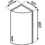 Кухонная секция Тюльпан В 32К33 пов. с дверью глянец