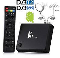 Смарт TV приставка K1 Plus Android 7,1 + DVB-T2 + спутниковое DVB-S2 HD1080p +  IP ТВ HD1080p + 4K