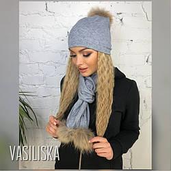 Комплект женский шапочка с шарфиком