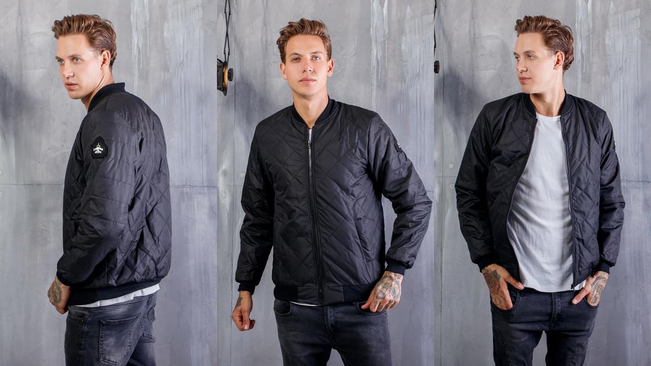 Мужская молодежная стильная осенняя куртка бомбер со стежкой ромб