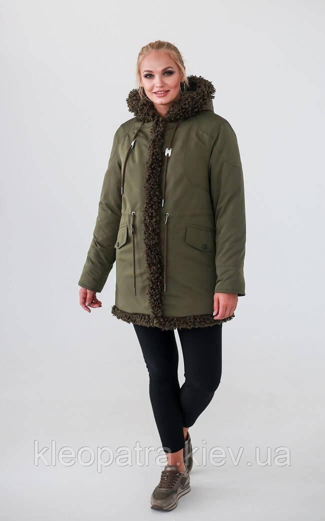 Зимняя женская куртка с барашком батал